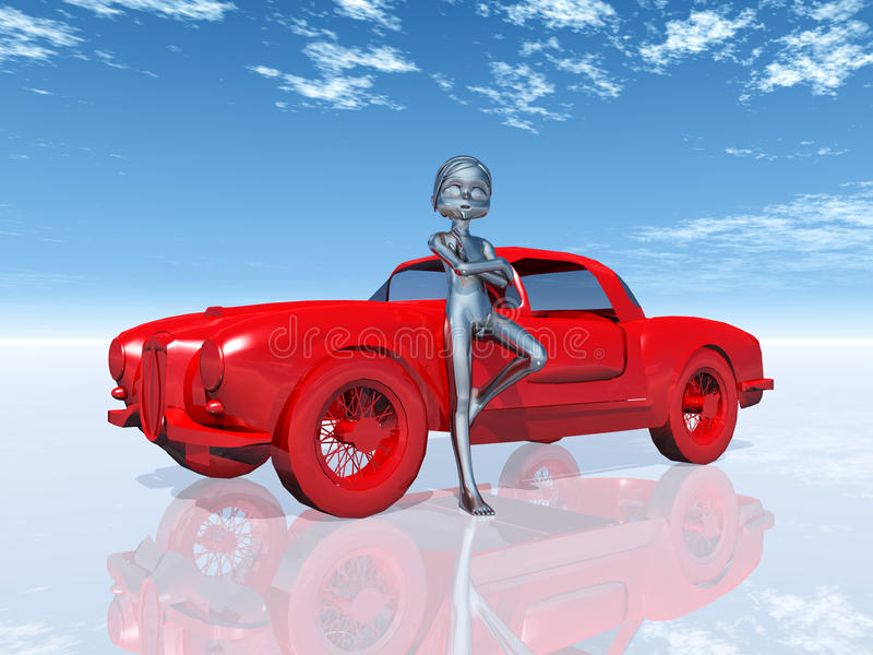 Figure With Car Royalty Free Stock Image