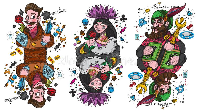 Figure caractères Roi, reine et valet de trèfle le costume Cosses royales d'instantané de casino de cartes de jeu illustration de vecteur