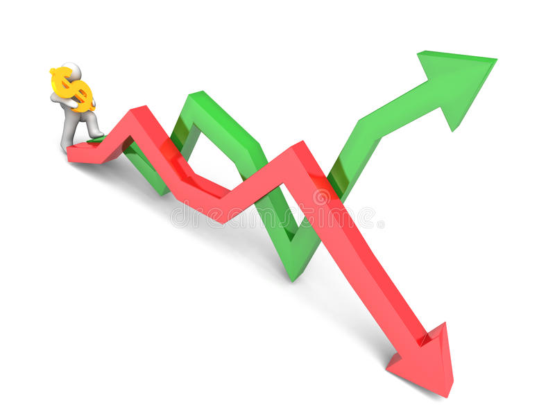 Figure carrying dollar sign. 3D rendering of a figure carrying a golden dollar sign while stepping on stock market trend lines vector illustration