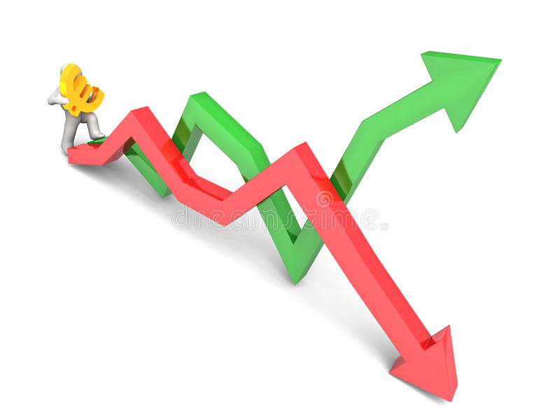 Figure carrying euro sign. 3D rendering of a figure carrying a golden euro sign while stepping on stock market trend lines vector illustration