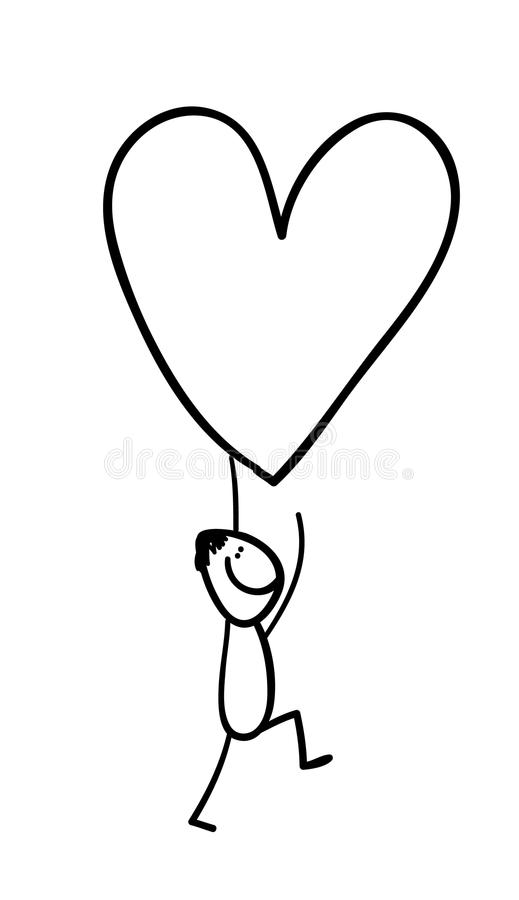 Figure carrying heart. Hand line drawing of a man carrying a heart for valentine day stock illustration
