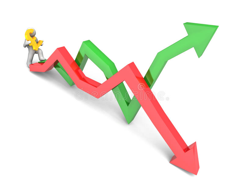 Figure carrying pound sign. 3D rendering of a figure carrying a golden pound sign while stepping on stock market trend lines stock illustration