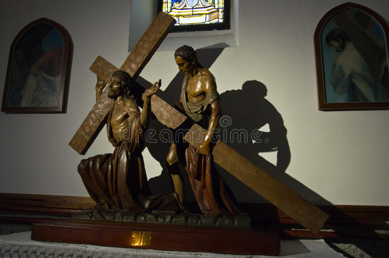 The figure of Christ with a crucifix stock image
