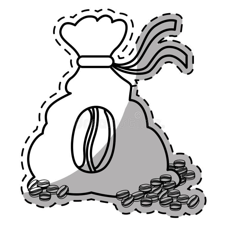 Figure coffee sack with coffee grains. Illustration image stock illustration