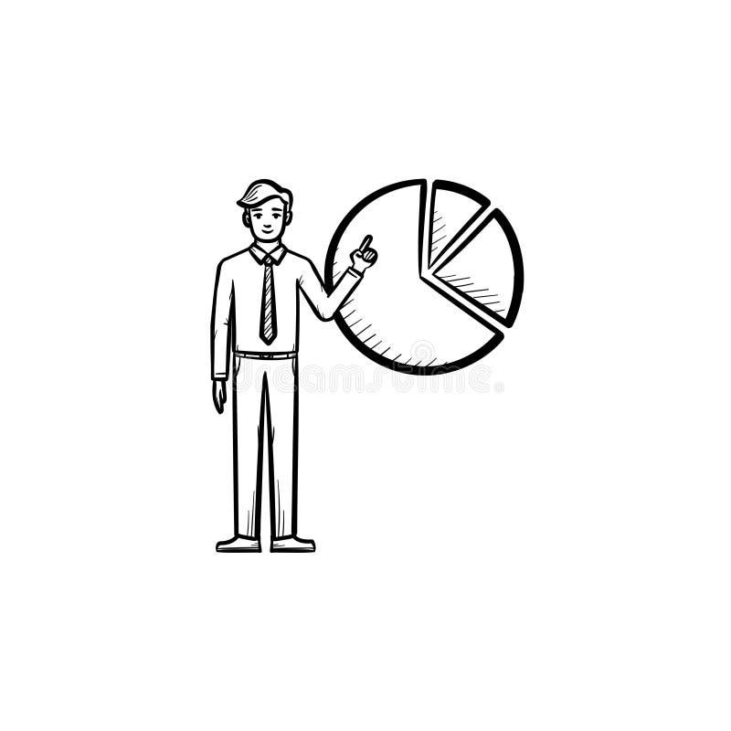 Figure d'un homme avec l'icône tirée par la main de croquis de diagramme illustration stock