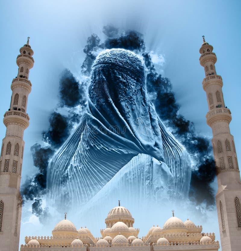 Figure dans Burqa en ciel au-dessus d'EL Mina Masjid Mosque images stock