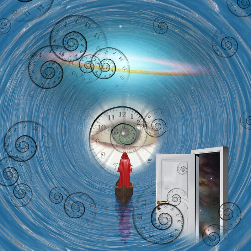 Figure dans la robe longue rouge sur le bateau dans le tunnel de temps illustration de vecteur