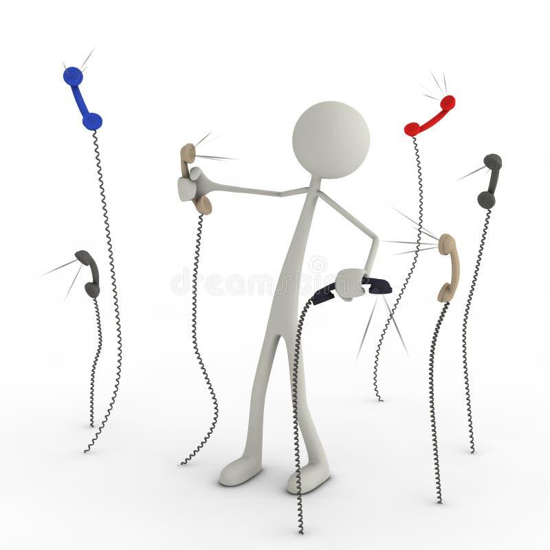 Figure dans le chaos des appels téléphoniques illustration de vecteur