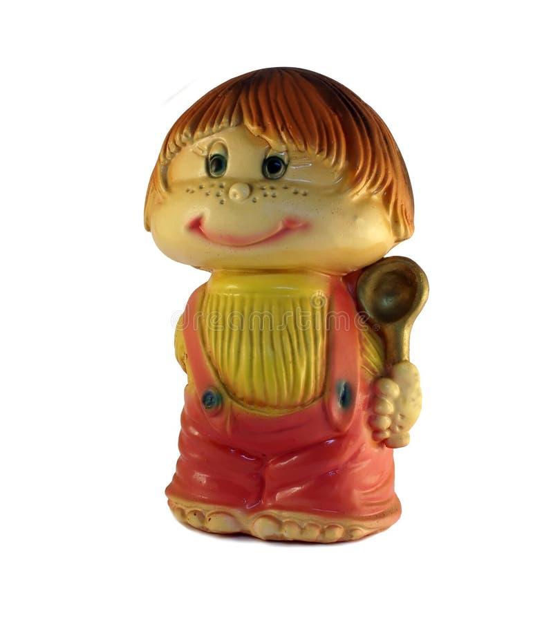 Figure de l'enfant avec une cuillère image stock