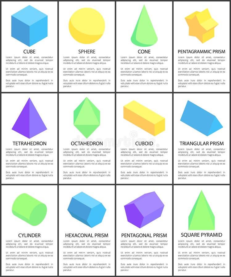 Figure del cilindro dell'ottaedro del cono della sfera del cubo messe illustrazione vettoriale