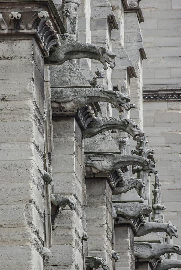 Figure del tetto dei doccioni spaventosi alla facciata principale della cattedrale di Notre Dame de Paris a Parigi, Francia, prim fotografia stock