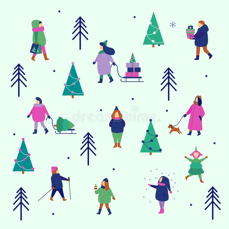 Figure della gente di inverno Gli uomini e le donne portano il Natale ed i regali del nuovo anno, godono della camminata del parc royalty illustrazione gratis