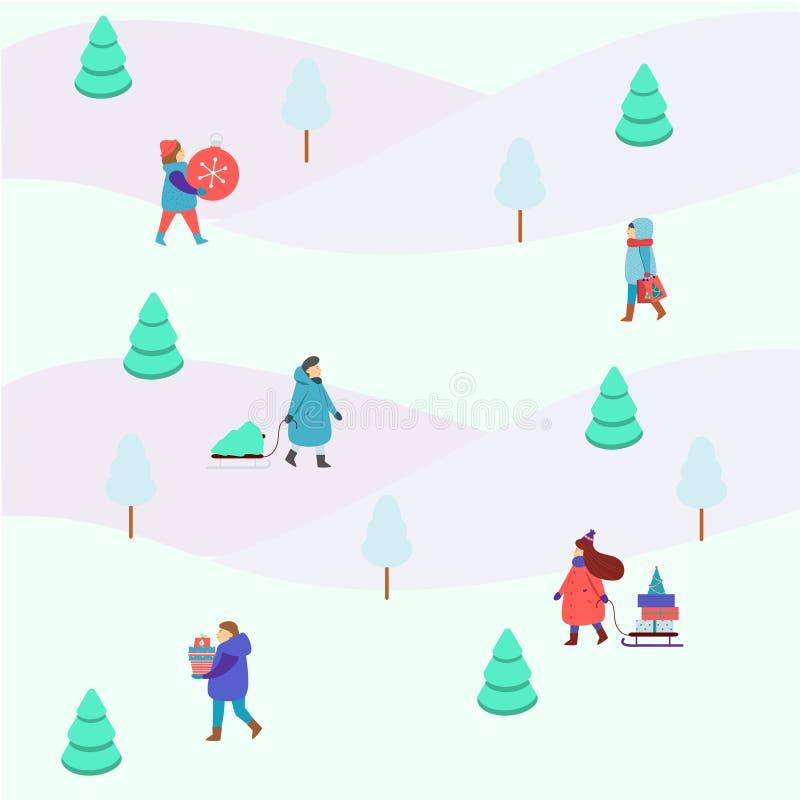 Figure della gente di inverno piccole Gli uomini e le donne portano il Natale ed i regali del nuovo anno, godono della camminata  illustrazione vettoriale