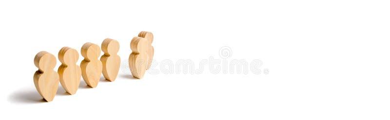 Figure di legno del supporto della gente nella formazione Candidato, eletto impiegato, il meglio di tutti la scelta del talento A illustrazione vettoriale