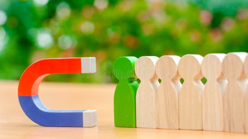 Figure di legno della gente e di un magnete Concetto della gestione del gruppo Risorse umane promuova Scelta del capo nuovo ed as immagine stock libera da diritti
