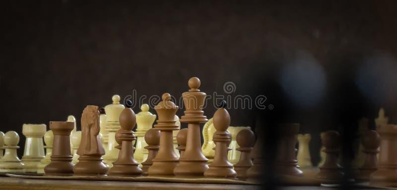 Figure di scacchi messe per la sfida e la partita illustrazione di stock
