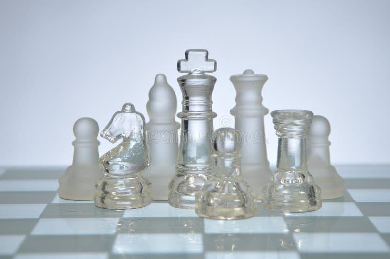 Figure di vetro di scacchi fotografia stock libera da diritti