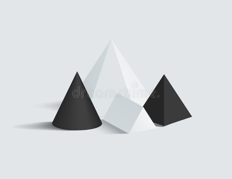 Figure di vettore del prisma del cono e della piramide quadrata messe royalty illustrazione gratis