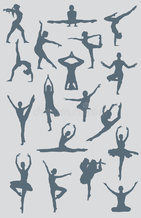 Figure di yoga di balletto di ballo royalty illustrazione gratis