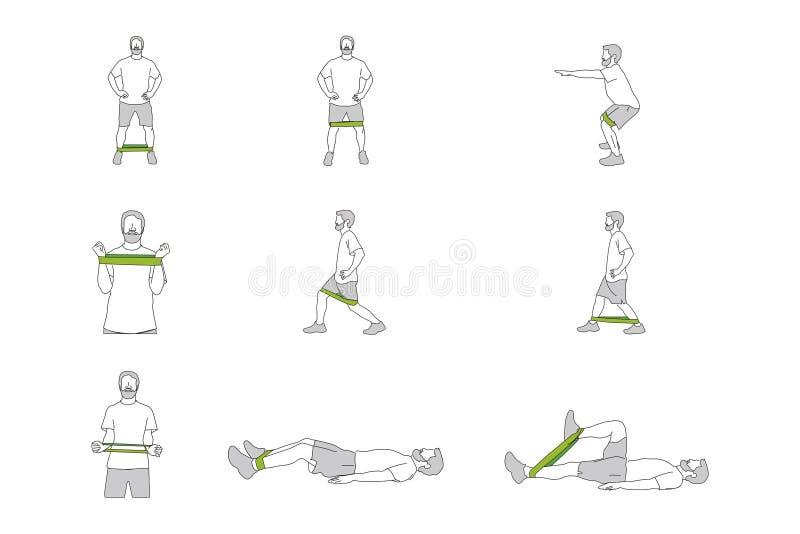Figure differenti di addestramento della persona con la banda immagine stock