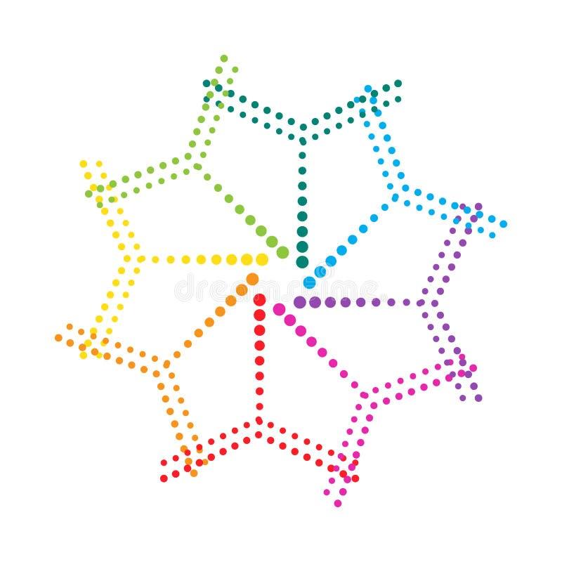 Figure of dots, a color wheel. Decorative design element. Vector stock illustration