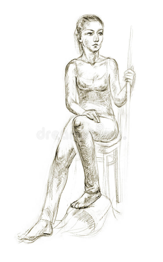 Download figure drawing in pencil stock illustration illustration of fine 48258288