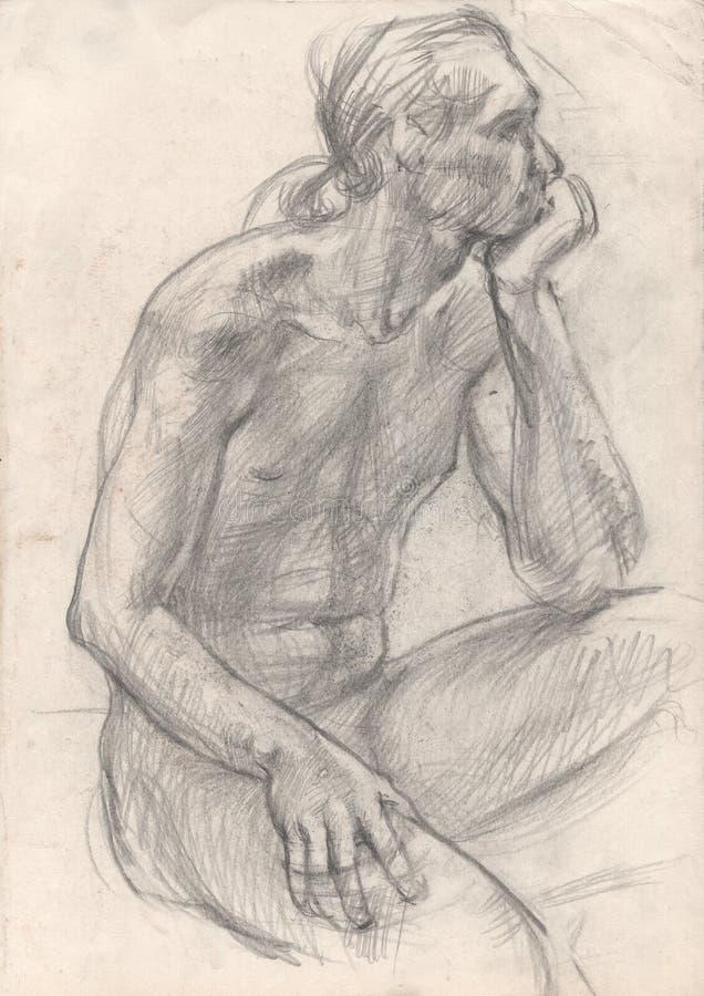 Figure drawing in pencil. Sitting man. Sketch of a young man. Academic drawing. Pencil drawing on paper. Art illustration. Human