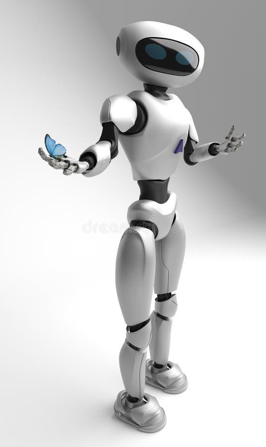 Figure du robot et butterfliy sur un fond blanc illustration stock