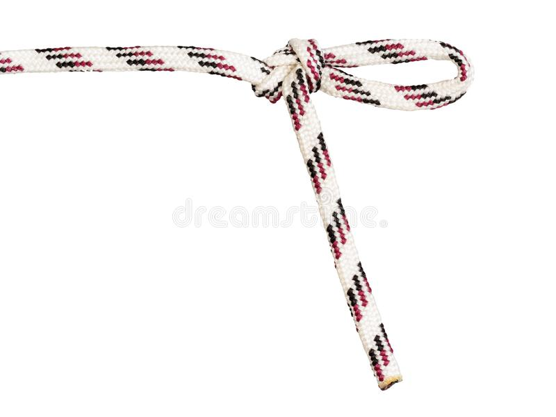 Figure-eight knot with draw-loop tied on rope. Figure-eight knot with draw-loop tied on synthetic rope cut out on white background stock photo