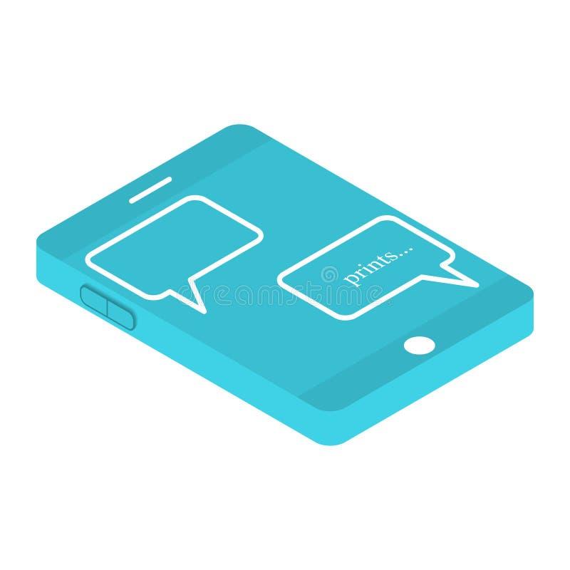 Figure el modelo 3d del teléfono con una charla en la pantalla Imprima un mensaje de SMS Ilustración del vector en el fondo blanc stock de ilustración