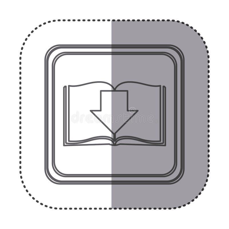 figure emblem book with down arrow stock illustration