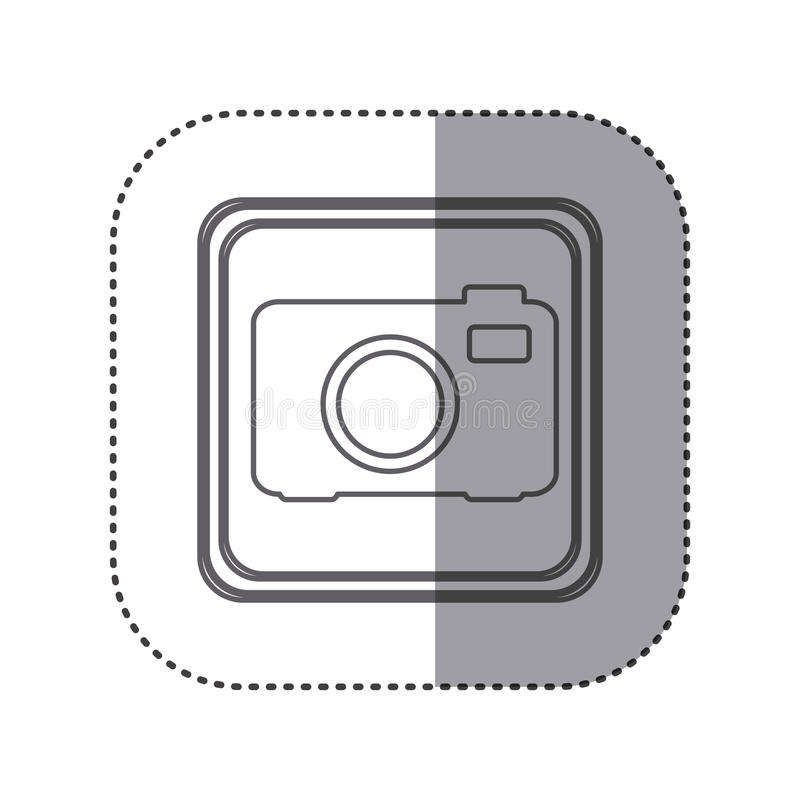 figure emblem cemera technology icon stock illustration