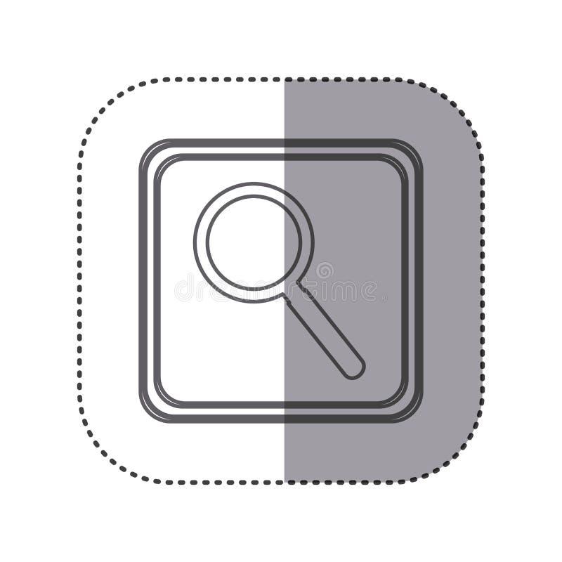 figure emblem magnifying glass icon stock illustration