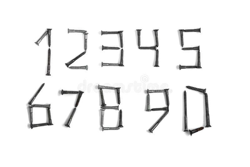 Figure fatte delle viti Numeri su un fondo isolato bianco di bolÐ «Ð « immagine stock libera da diritti