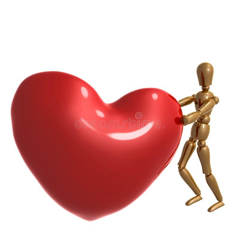 Figure fictive poussant le coeur pour l'amour illustration de vecteur