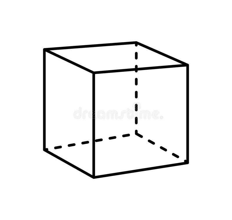 Figure géométrique d'isolement par cube de projection noire illustration libre de droits
