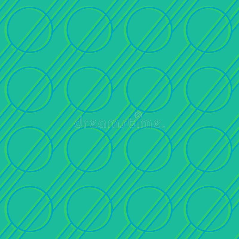 Figure geometriche astratte - linee e cerchi d'ardore su fondo colorato scuro Modello senza cuciture di vettore per il tessuto, s illustrazione di stock