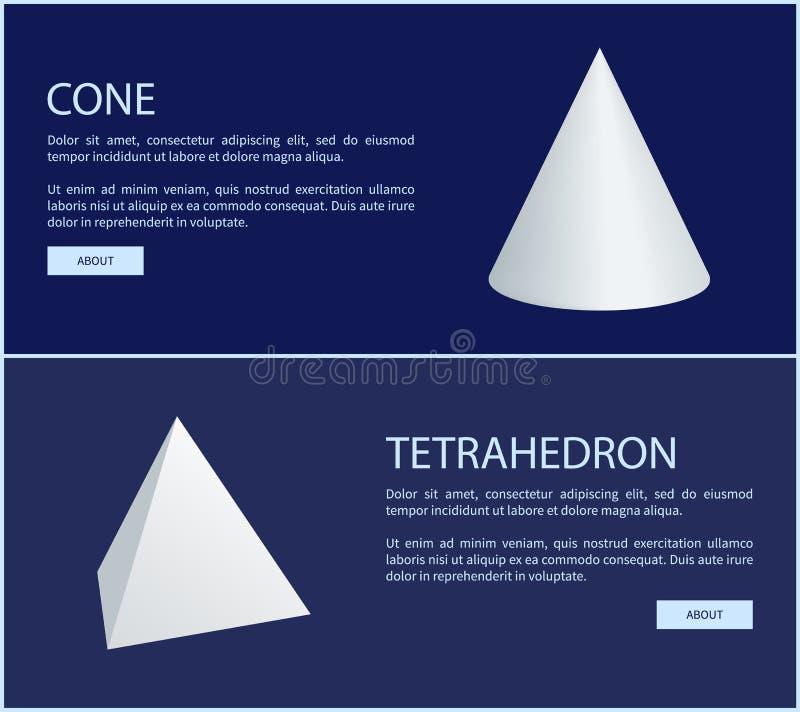 Figure geometriche del prisma triangolare e del tetraedro royalty illustrazione gratis