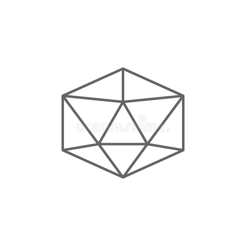 Figure geometriche, icona del profilo dell'icosaedro Elementi delle figure geometriche icona dell'illustrazione I segni ed i simb illustrazione di stock