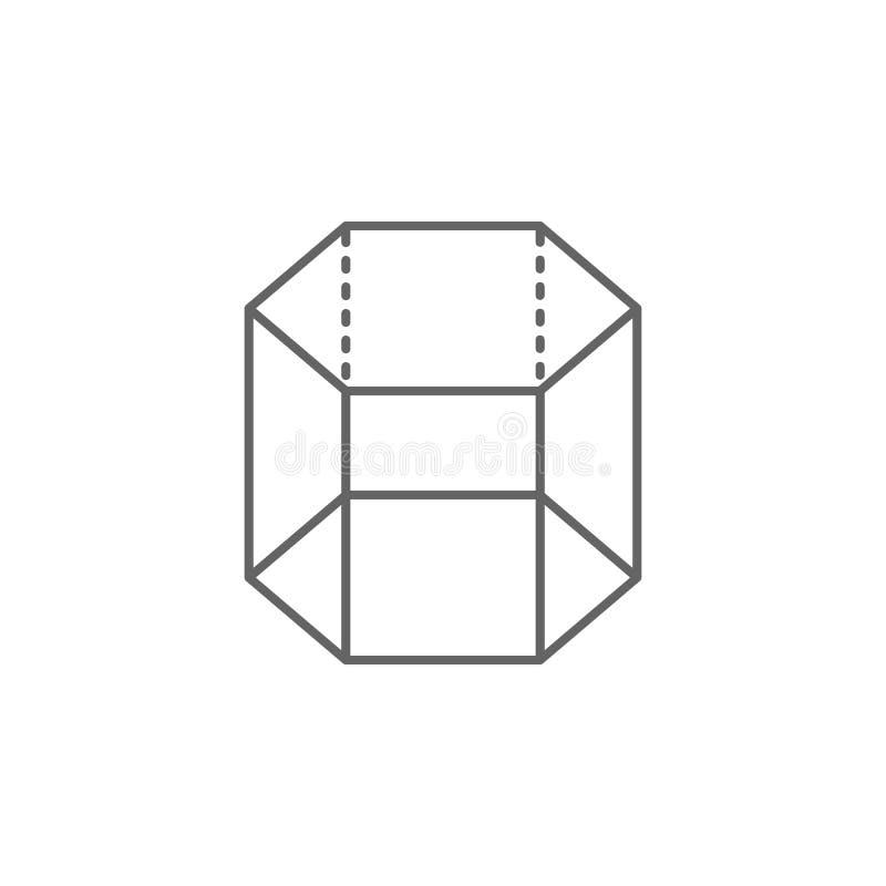 Figure geometriche, icona esagonale del profilo del prisma Elementi delle figure geometriche icona dell'illustrazione I segni ed  royalty illustrazione gratis