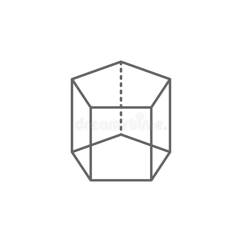 Figure geometriche, icona pentagonale del profilo del prisma Elementi delle figure geometriche icona dell'illustrazione I segni e royalty illustrazione gratis