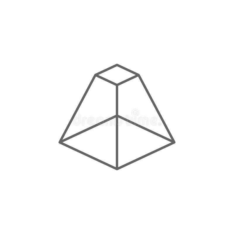 Figure geometriche, piramide con l'icona superiore piana del profilo Elementi delle figure geometriche icona dell'illustrazione I illustrazione di stock