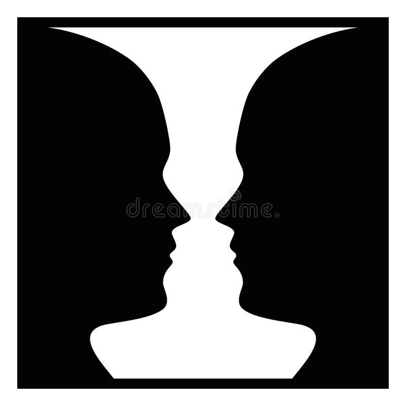 Figure ground perception, face and vase stock illustration