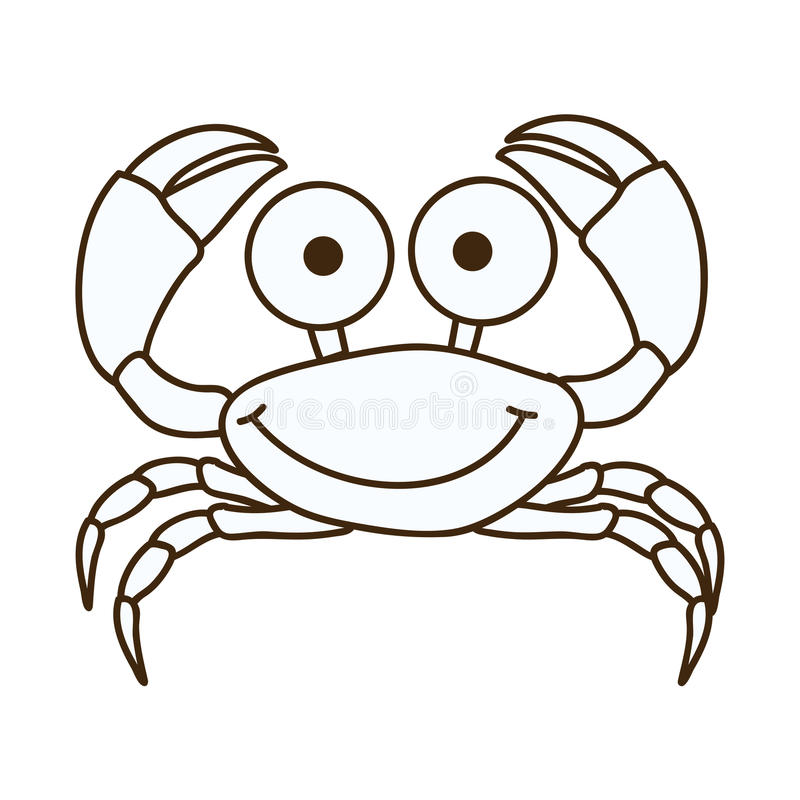figure happy crab cartoon icon vector illustration