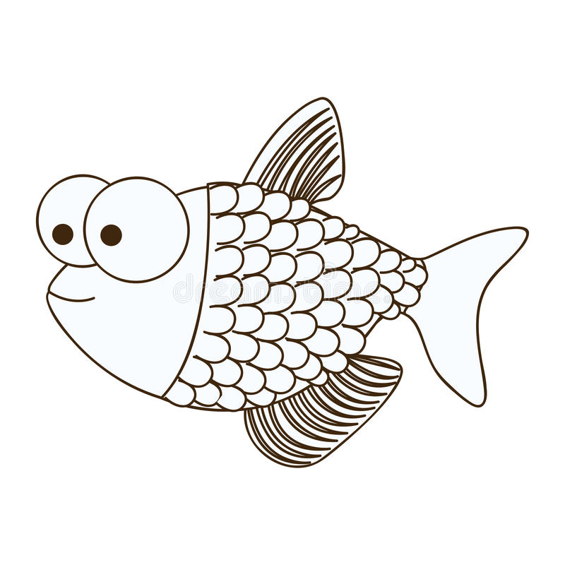 figure happy fish scalescartoon icon royalty free illustration