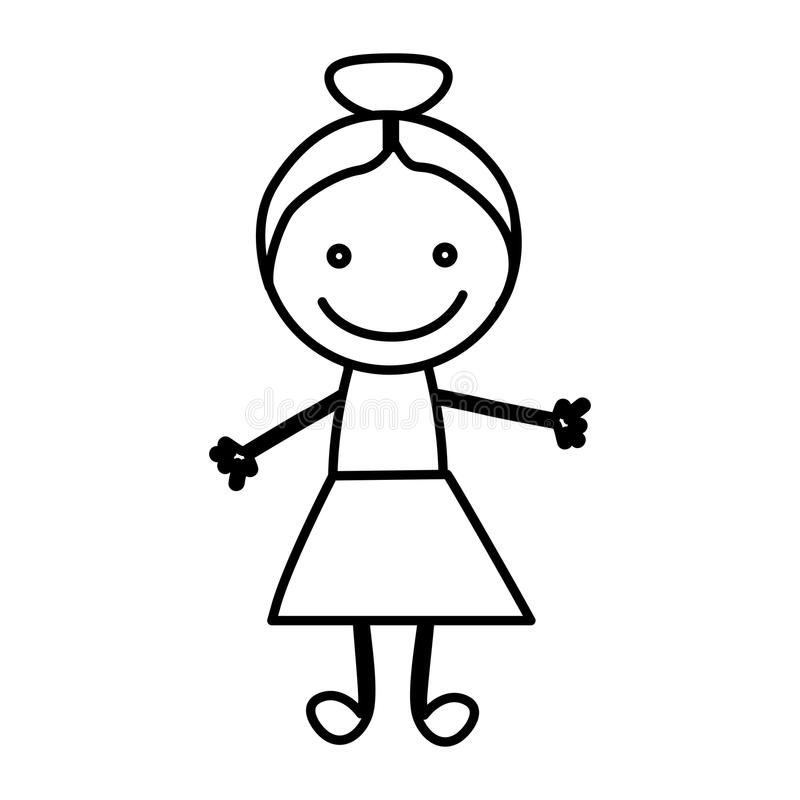 figure happy girl icon stock illustration