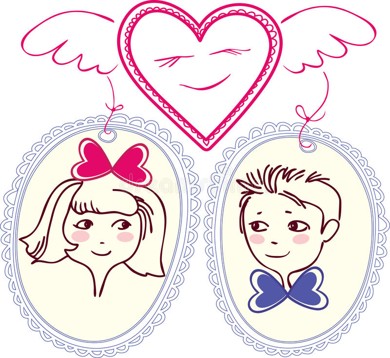 Figure heart with wings, which has chosen pair. The girl and boy are shown in small portraits. Under the image of the heart and the circuit is no border royalty free illustration