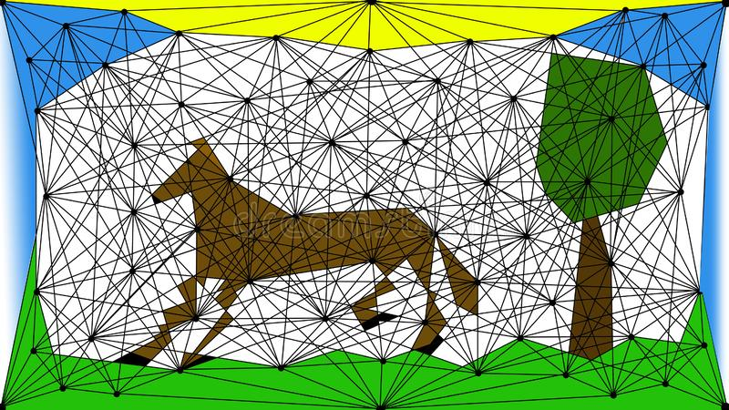 Figure: horse caricature in the world around. Figure: caricature of a horse in the world around it. The pictures show sky, sun, horse, tree, grass. If someone royalty free illustration