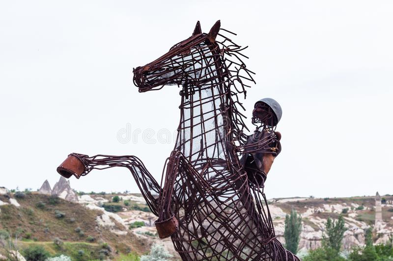 Figure of horseman from reinforcement in Goreme stock photos