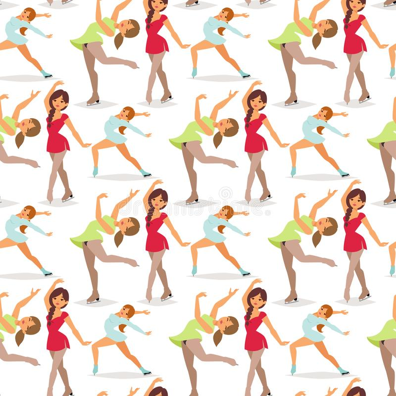 Figure ice skater women vector beauty sport girls doing exercise and tricks jump characters dancer people performance vector illustration